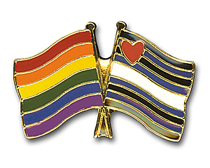 Pin: Doppelflagge Rainbow + Leather Pride 22mm