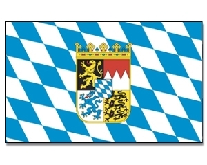Bayern mit Wappen  Stockflagge 30*45 cm
